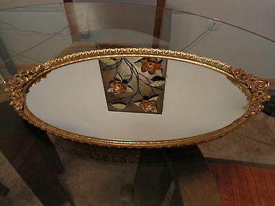 Lrg. Vtg Filigree Rose Handled Oval Mirrored Vanity/Dresser/Makeup/Perfume Tray