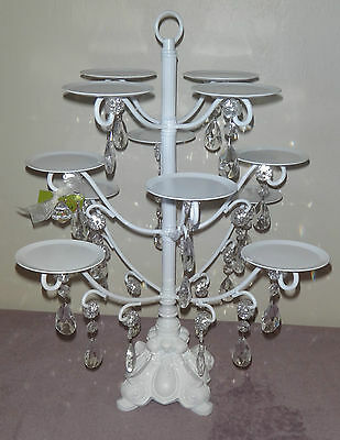 Amazing Opulent Treasures White with Crystal 12 Cupcake Stand Holder ORNATE BASE
