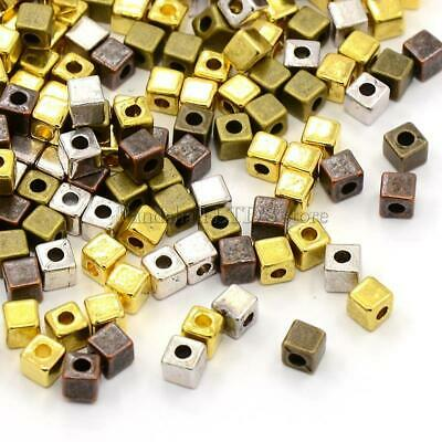 100/500Pcs Fashion Loose Cube Tibetan Silver Spacer Beads Jewelry Findings NEW