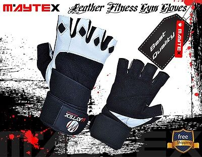 GYM Gloves Fitness TRAINING Weight Lifting BodyBuilders Wrist Wrap Maytex