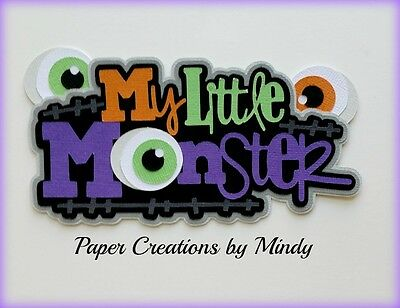 Craftecafe Mindy halloween monster title premade paper piecing scrapbook page