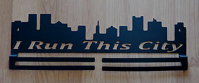 I RUN THIS CITY RACE MEDAL DISPLAY HOLDER RUNNER  5K 10K HALF MARATHON HOMEMADE