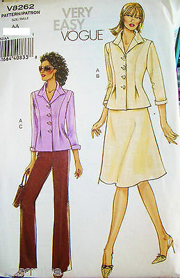 Ms MP Vogue Pattern 8262 UNCUT Very Easy Jacket Skirt Pants Size 6-8-10-12