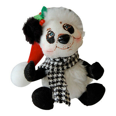 "CLASSY Christmas PANDA ORNAMENT 3"" HOLIDAY Soft Unbreakable BEAR Annalee 2014"