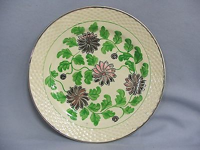 Antique 1920s Adams Titian Ware Royal Ivory Silver Leaf Plate RARE Basket Weave