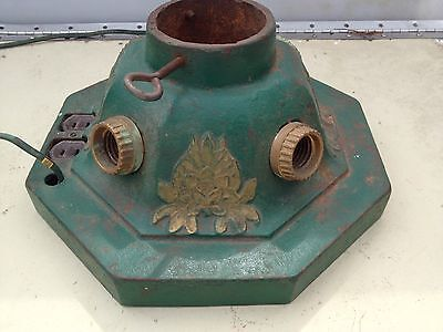 Vintage Cast Iron Christmas Tree Stand Lighted