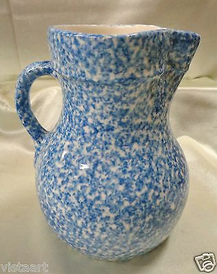 """Beautiful Blue Antique Pitcher with Elongated Sides- 8"""" Tall 7"""" x 6"""""""