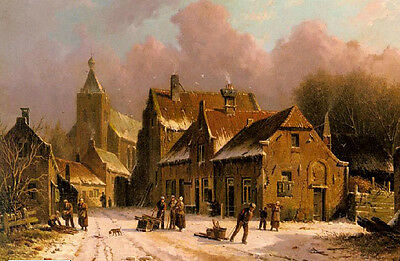 Great landscape oil painting A Village In Winter with farmers before storm 36""
