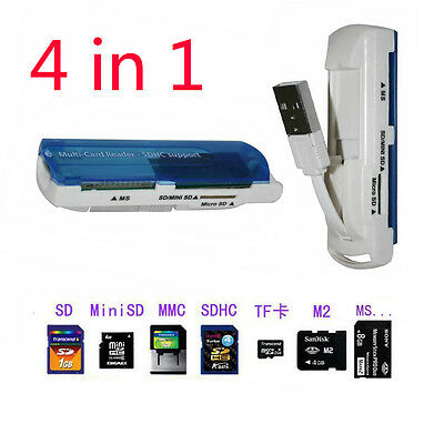 Portable USB 2.0 4 in 1 Card Reader for SDHC Mini SD TF MMC MD M2