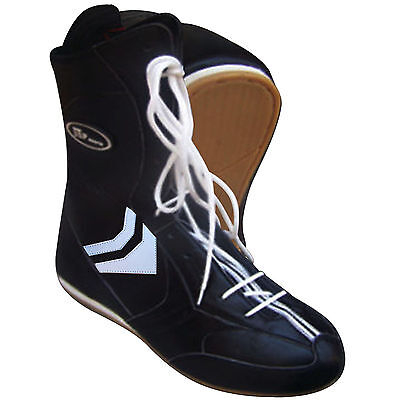 ZstarAX Leather Boxing Boots Long Anklet Shoes Boots Black  Juniors & Adults