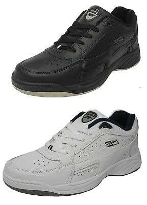 Mens DEK Wide Fitting Fit Lace Up Leather Trainers Shoes BLACK WHITE Sz 7-14