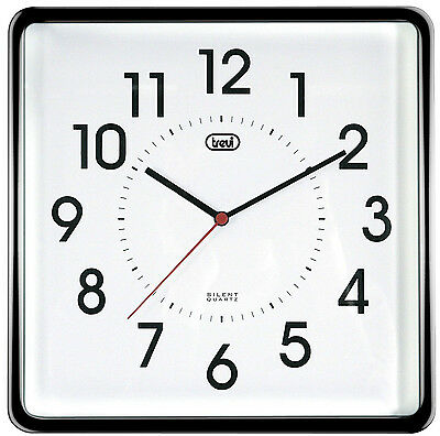 Square Wall Clock • near Silent Movement • 25cm • Quiet • Does not Tick