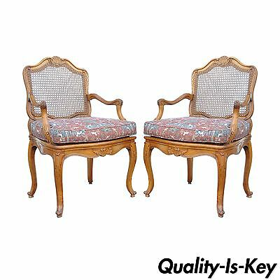 Pair Vintage French Country Louis XV Style Carved Cane Back Fauteuil Armchairs