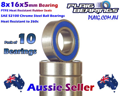 8x16x5mm Bearings (10) Precision High Speed PTFE Rubber Seals HPI Kyosho Mugen