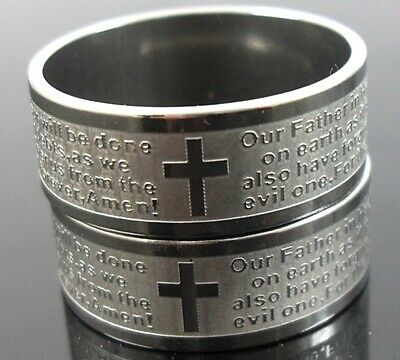 30pcs Etch English Lord's Prayer Stainless Steel Ring Wholesale Jewelry Lots