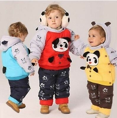 SALE Baby Boy Girl Snowsuit Hooded Padded Warm Winter Jacket 2 Pcs Thick 6 12 M