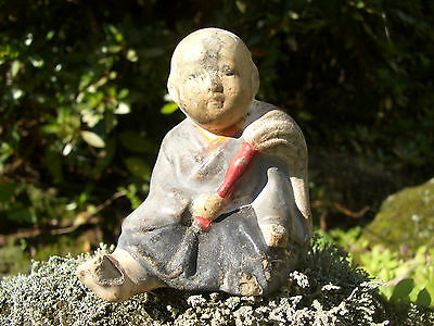 Japanese antique clay doll sitting a man with bag wore kimono #9144