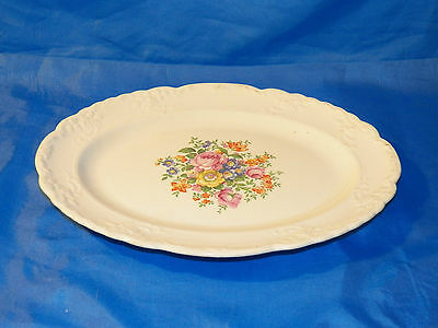 "Vintage 1920s Taylor Smith Taylor TST Floral Embossed Cream Platter 11.5"" VGC"
