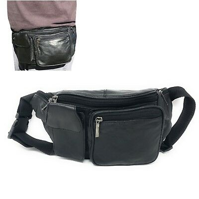9e9587dcc276 LEATHER FANNY PACK Travel Pouch Man Purse Passport Waist Bag Phone 6  Pockets 52