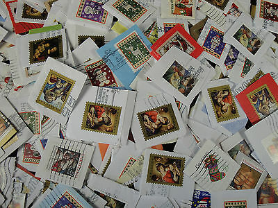 Christmas US postage stamps cleanly cut on paper 1000's 1 lb pound bag some mint