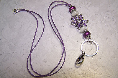 Purple Flower With Magenta and White Murano Beaded Lanyard / ID Badge Holder