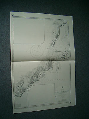 Vintage Admiralty Chart 2591 NEW ZEALAND - RIVER WAIHO to CAPE FOULWIND 1914 edn