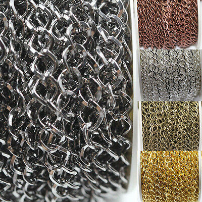 1M/5M Silver/Gold Plated Cable Open Link Iron Metal Chain Jewelry Making 5Colors