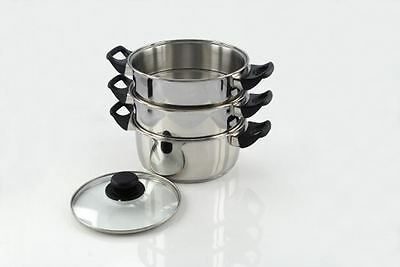 Pendeford Stainless Steel 20cm 3 Tier Steamer Steaming Pan Set With Handles