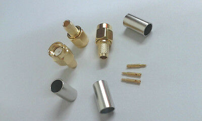 6pcs Gold plated SMA male crimp adapter to RG58 LMR195