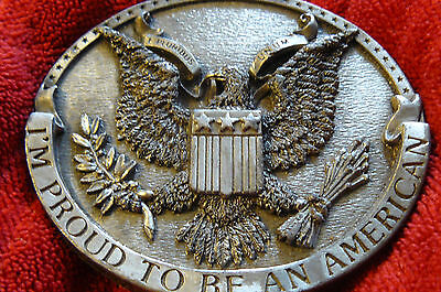 Vintage Brass Belt Buckle I'm Proud To Be An American 1981