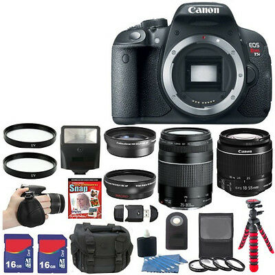 NEW Canon EOS Rebel T5i 700D Camera + 8 Lens Kit 18-55 STM 75-300mm + 32GB Kit