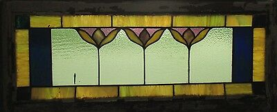 ~ ANTIQUE AMERICAN STAINED GLASS WINDOW ~ 41.75 x 18 ~ ARCHITECTURAL SALVAGE ~