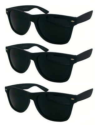 Wholesale Lots 12 Pairs Wayfarer Sunglasses With Super Dark Lens & Rubber Finish