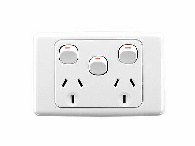 Clipsal White 2025XA Double Powerpoint with Extra Switch 10A GPO Power Outlet