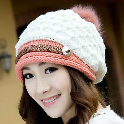 New Fashion Women Winter Warm Knit Beret Hat Girl Beanie Crochet Ski Baggy Cap