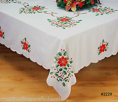 "Holiday Christmas Poinsettia 68"" ROUND White Fabric Tablecloth #3229"