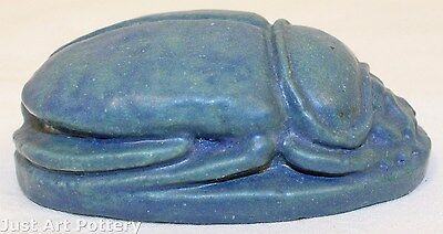 Grueby Pottery Matte Blue Scarab Paperweight