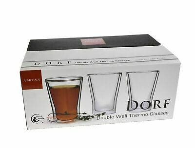 DOUBLE WALL ESPRESSO CUPS Dual Coffee Cappuccino Glasses Thermo 300ml SET OF 6