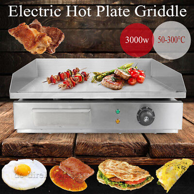 3KW  Griddle Heavy Duty Electric Chop Hot Plate 55cm Commercial Countertop BBQ