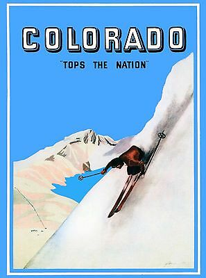 Colorado Tops the Nation Ski Vintage United States Travel Advertisement Poster