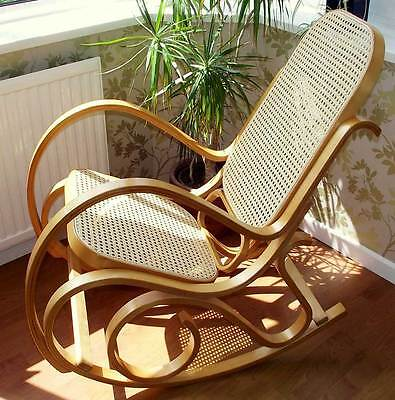 Brand New Bentwood Oak & Rattan Maternity Rocking Chair - Baby Feeding & Nursing