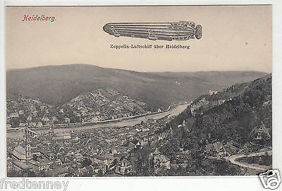 Lithograph - German Airship - Zeppelin-Luftschiff over Heidelberg - early 1900s