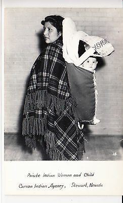 RPPC - Paiute Woman with child - Carson Indian Agency - Nevada - 1940s/1950s