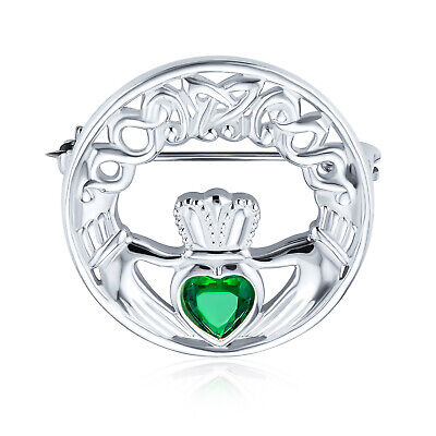 Celtic Claddagh Round Circle Brooch Pin Kelly Green Heart Shaped Sterling Silver