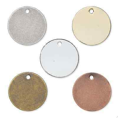 100 or 50pcs Plated Brass 12mm Flat Round Coin Drop Circle Stamping Charm Blank