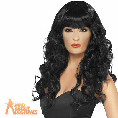 Black Siren Wig Ladies Long Curly Halloween Fancy Dress Gothic Glamour New