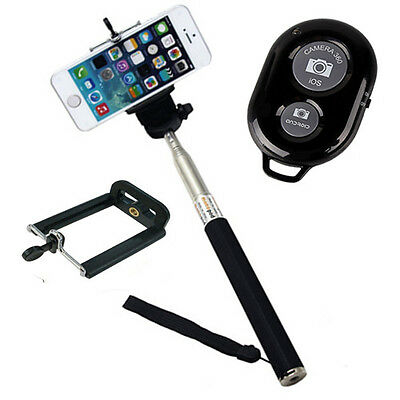 Black Wireless Shutter Remote With Black Monopod Selfie Stick  For IOS Android