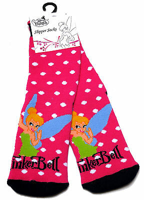 Young Girls Tinkerbell In The Snow Cosy Slipper Socks Uk Size 6-8.5 /  2-3 Years