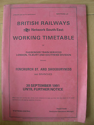 Working Timetable British Railways Network South East Section Lc 1991