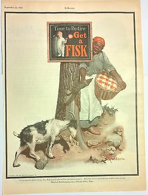 1926 FISK TIRE Ad (color) BLACK AMERICANA Leslie Thrasher art Goat Laundry